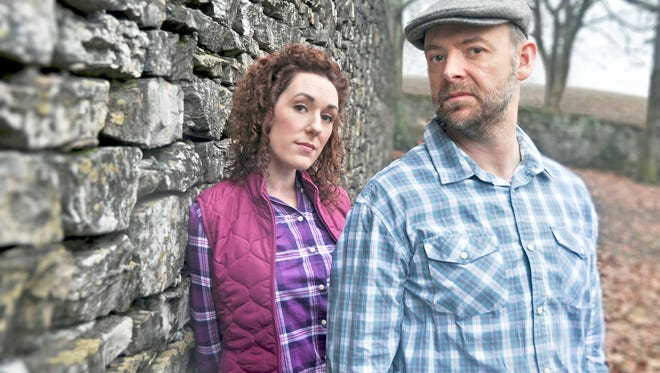 "Katie Cunningham and Richard Price play two Irish farmers in the Clarence Brown Theatre's ""Outside Mullingar."""