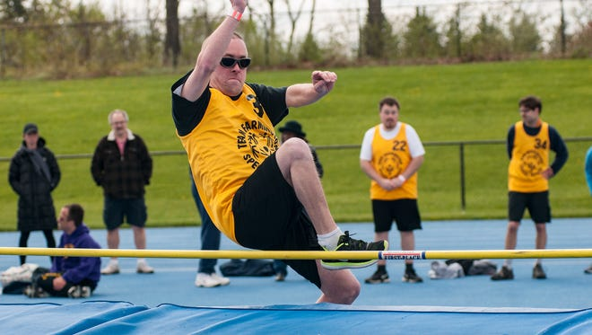 Neil Seelbach of team Farmington made a good showing at the high jump on Saturday.  Lakeland High School provided the venue for the Special Olympians to compete. Colder than normal temperatures did not keep spectators away.