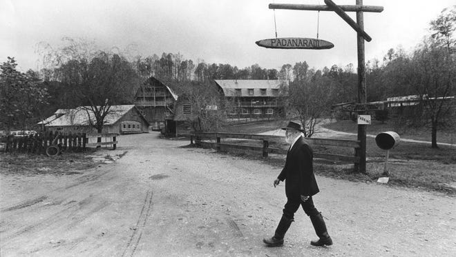 Daniel Wright walks over the grounds of the Padanaram/God's Valley commune which he founded. 1986