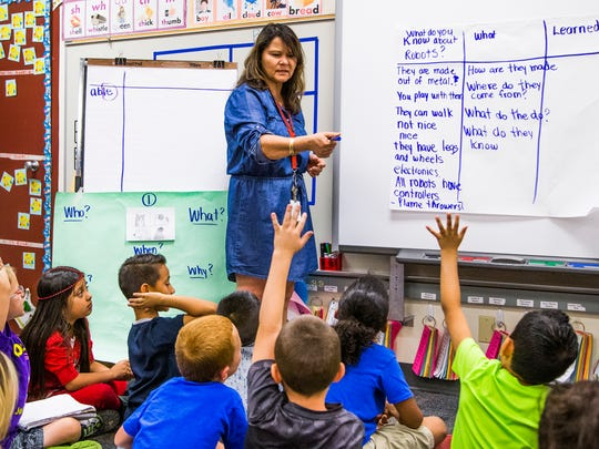 """Jefferson Elementary School in Mesa was recently designated an """"A+ School of Excellence"""".  Gina Nunez teaches robotics in her first-grade class, Friday, April 21, 2017."""
