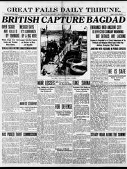 Front page of Great Falls Tribune, March 12, 1917.