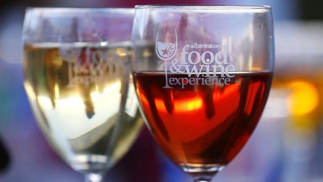 Wine glasses Sunday, Nov. 8, 2015 at the Azcentral Food & Wine Experience in Scottsdale,  Ariz.