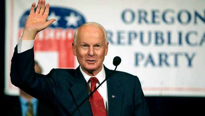 Dennis Richardson, the Oregon Republican Secretary of state candidate, waves to the crowd during an election night event at the Salem Convention Center in Salem. The Republican-led office in charge of Oregon's elections is asking the Legislature to fund an internet security position to protect against foreign interference after the Russian government targeted the state in the 2016 elections.