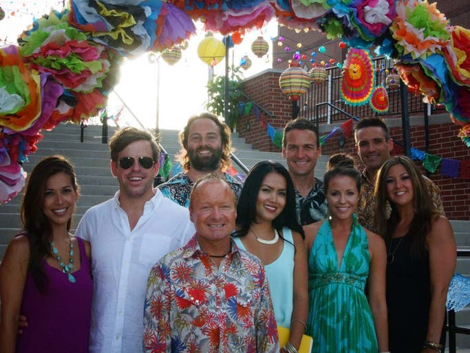 Jeff Aton, Mydung Crayon, Matt Crayon, Leah Bassham, Ken Bassham, Kari Wyrsch, Justin Wyrsch, Chris Aton and Jamie Aton at the Dickerson Park Zoo's 2014 Ball of the Wild.
