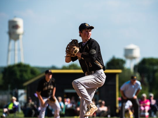 Biglerville's Chase Long aims down a pitch for Delone Catholic on Tuesday May 24, 2016 at Biglerville High School in the first round of the District 3 baseball tournament.