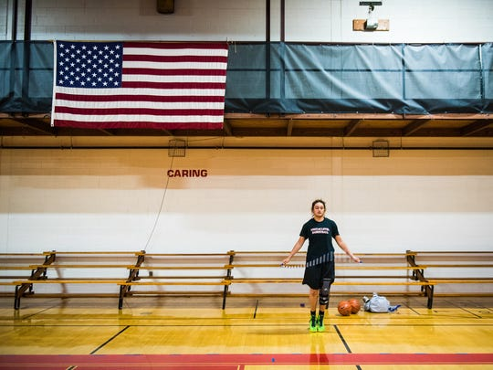 Soukaina Tracy jumps rope Friday June 24, 2016 before practicing basketball at the Hanover YMCA.