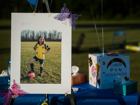 A photo of Codie Powell is displayed June 25, 2016 at Alloway Creek Intermediate School in Littlestown during a vigil and memorial service.