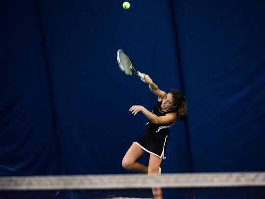 South Western's Michaela Sentz fires back Saturday Oct. 8, 2016 while competing against Central York's Maddy Mummert in the 3A third-place YAIAA tennis championship match at Wisehaven Tennis Center in York.