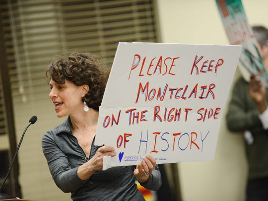 Alma Schneider was one of the Montclair residents that spoke to the township council and a crowd overflowing into the hallways and crowding by the doorways to affirm their support for the township to declare itself a sanctuary township, at the Tuesday night council meeting, Feb. 7.