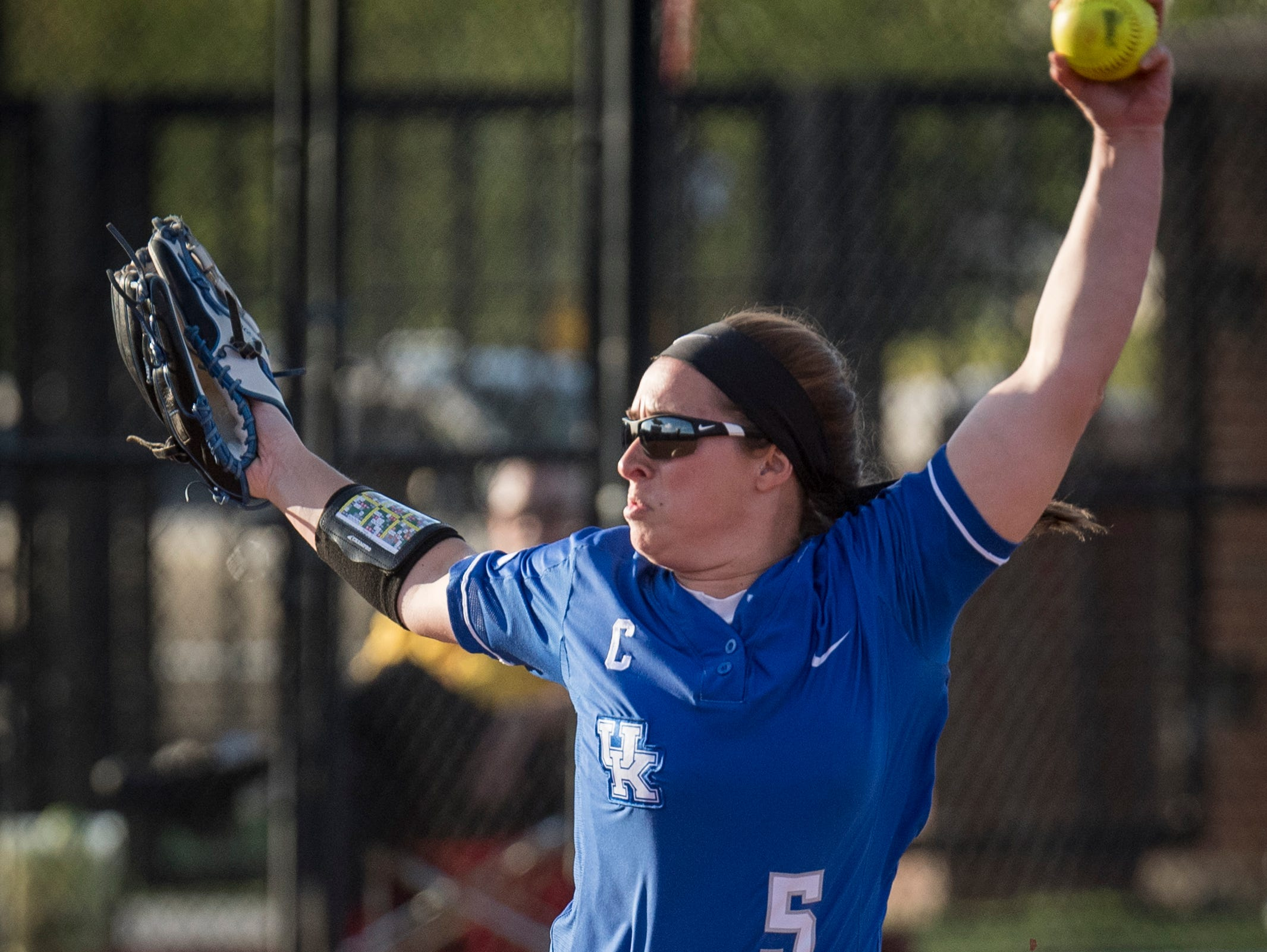 Kentucky starting pitcher/relief pitcher Meagan Prince (5) pitches during the game against University of Louisville played in Louisville, Kentucky, Wednesday, April 12, 2017. Photo: Bryan Woolston