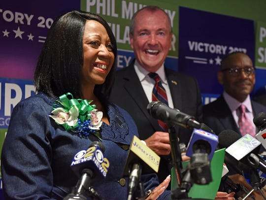 Sheila Oliver, in front of an overflow crowd in July, is announced as Phil Murphy's lieutenant governor running mate during a news conference in Newark.