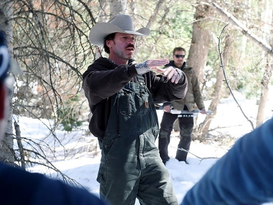 Taylor Sheridan directs a scene on the set of 'Wind