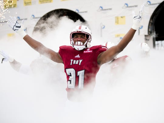 Troy linebacker A.J. Smiley (31) enters the field during the NCAA football game between Troy and Georgia Southern on Saturday, Oct. 28, 2017, in Troy, Ala.