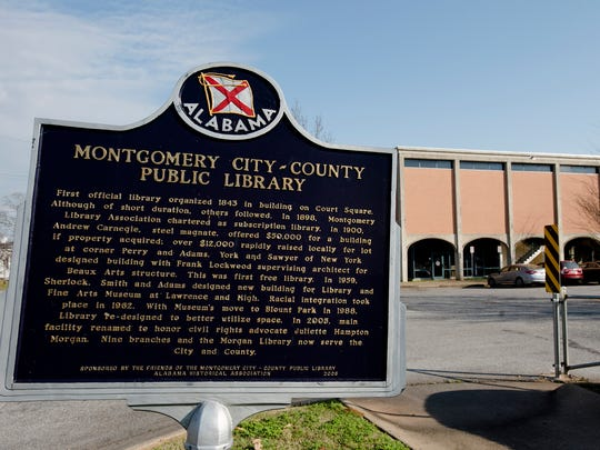 A plaque memorializing Juliette Hampton Morgan outside