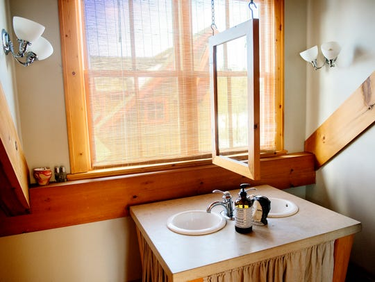 A double sink in the master bedroom's bathroom inside