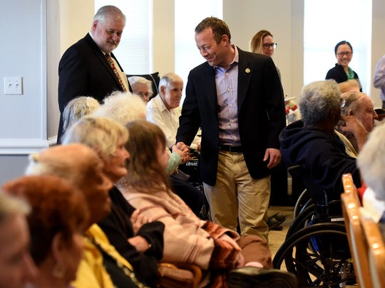 Rep. Josh Gottheimer, D-Wyckoff, center, meets with