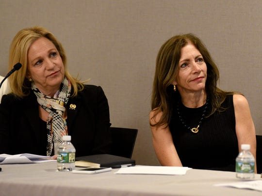 NJ Assemblywoman Valerie Vainieri Huttle and NJ First Lady Tammy Murphy, from left, listen to reported findings and identified next steps by the Time Is Now Action Coalition during a community update at Bergen County Plaza on Thursday, April 19, 2018. The Time Is Now Coalition formed in the wake of the #MeToo and #TimeIsUp movement last year.
