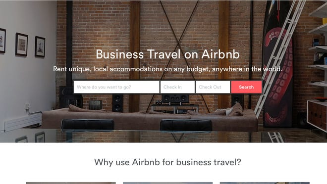 The home page for Airbnb's business travel site.
