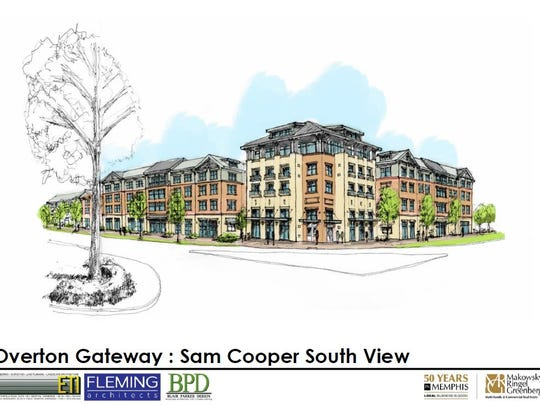An architectural rendering of what is now called Thrive @ the Park (formerly Overton Gateway apartments). The latest plan caps the height at three stories.