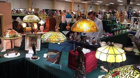 High-end lamps, including Tiffany lamps, will be among the thousands of items available at the show.