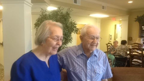 Flossie and Max Anderson lived in Donelson 51 years before moving to Rutland Place Senior Community in Mt. Juliet last year. They'll celebrate their 70th wedding anniversary on Wednesday.