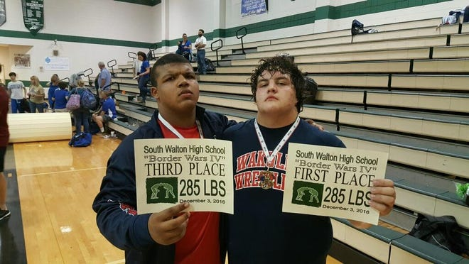 Wakulla teammates Darius Wilkins, left, and Jacob Marin are two of the best heavyweight wrestlers in the state. But only Marin, who beat Wilkins in a recent wrestle-off, will get to compete in the postseason.