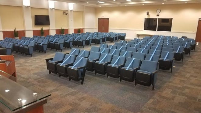Wellington officials used taped to enforce social-distancing at its last meeting.