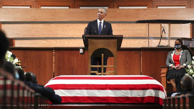 """7/30/20 - Atlanta, GA -  Former President Barack Obama addresses the service.  On the sixth day of the """"Celebration of Life"""" for Rep. John Lewis, his funeral is  held at Ebenezer Baptist Church in Atlanta, with burial to follow.   Alyssa Pointer / alyssa.pointer@ajc.com"""