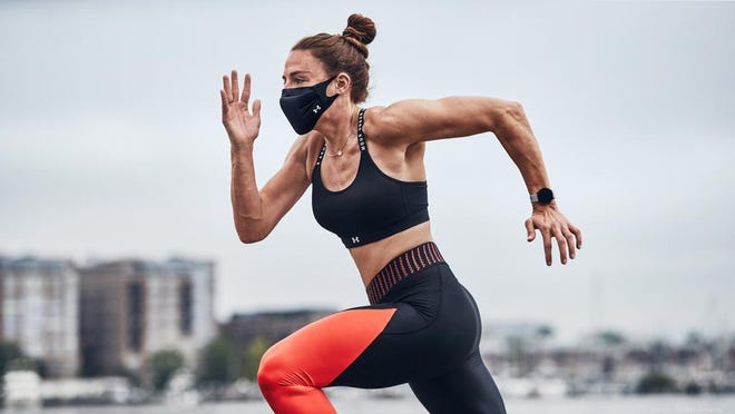 """The Under Armour Sportsmask debuted last month and, despite its $30 price tag, """"sold out in less than an hour"""" said company CEO Patrik Frisk in a tweet. It's now on back order and won't ship again until August. (Photo courtesy of Under Armour"""
