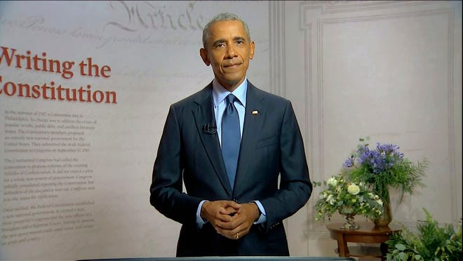 In this image from video, former President Barack Obama speaks during the third night of the Democratic National Convention on Wednesday, Aug. 19, 2020.