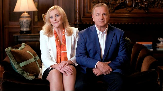 In this image from video, Mark and Patricia McCloskey speak from St. Louis, during the first night of the Republican National Convention Monday, Aug. 24, 2020.