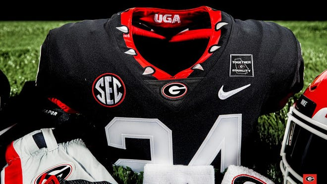 Georgia football players and other Bulldog athletes will display a Together Equality message on game jerseys (UGA football photo).