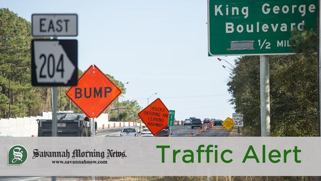 SAVANNAH, GA - Traffic headed east on Hwy. 204 towards the King George Boulevard intersection which has undergone serious construction. The Georgia Department of Transportation says there will be no lane closures from Nov. 20 through Jan. 2 in the area of the intersection.