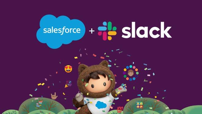 Salesforce logo plus Slack logo.