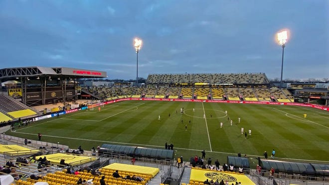 A limited capacity Mapfre Stadium cheers on the Crew during its Eastern Conference Final win against the New England Revolution on Sunday.
