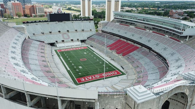 Ohio Stadium, also known as the Horseshoe, the Shoe, and the House That Harley Built, is on the campus of The Ohio State University.  Photographed Tuesday, June 16, 2020.