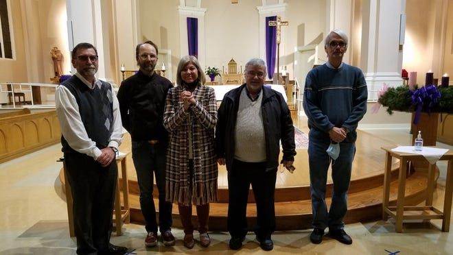 Five lay persons were recently commissioned to serve as Stephen Ministers to hurting people. They include (from left) Ed Lambrix, Robert Foshag, Kim Wilson, Sam Modica and Michael Dazarow.