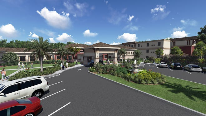Omega Communities is building an assisted living and memory care center in Fort Myers. It's a bit larger than the one shown in this rendering for Fountains of Hope, a 90,000-square-foot assisted living and memory care community in Sarasota that broke ground on Dec. 14. Building in Fort Myers will start in the spring and the center will start accepting residents in the summer of 2016.