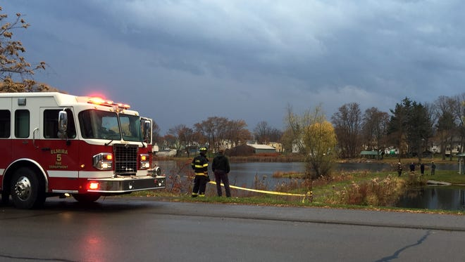 Elmira Fire Department personnel and state troopers responded to a report of a bomb blast Thursday at Brick Pond.