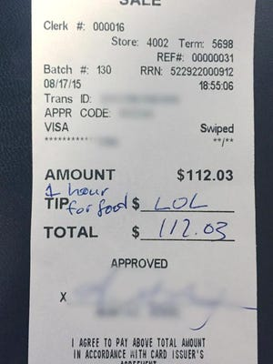 A waitress at D'Jais Bar & Grill was stiffed out of a tip on a $112 bill last week, because the paying customer apparently felt his or her party had waited too long for their meals.
