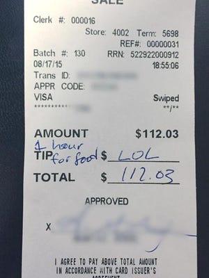 A copy of the offensive receipt left for Jess Jones, a server at D'Jais Bar & Grill in Belmar.