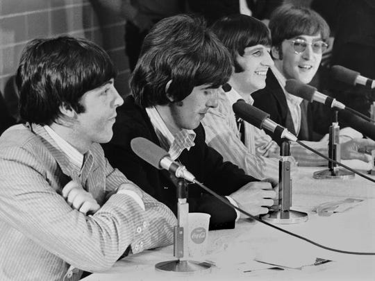 "The Beatles - Paul McCartney, George Harrison,  Ringo Starr and John Lennon - in Memphis in 1966. They gave two performances at the Mid-South Coliseum on Aug. 19. More than 20,000 fans attended. The late Fred Griffith, former staff photographer for The Commercial Appeal, shot photos of the Beatles for the newspaper. In 1991, he said he and other members of the accredited press were allowed to take photos during the group's press conference at the Coliseum. Griffith, now recalled seeing the Beatles in the rear of the Coliseum before the press conference. ""They were in the bus and leaning out the windows and yelling and hollering, and the girls were screaming."" Griffith wasn't really impressed with the Beatles during the press conference. ""They weren't all that friendly. As I remember it, they acted like they were so much better than any of us. They acted like we were wasting their time, I thought."""