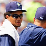 Tampa Bay Rays starting pitcher Chris Archer (22) talks with starting pitcher Drew Smyly (33) during an exhibition spring training baseball game against the New York Yankees, Thursday, March 26, 2015, in Port Charlotte, Fla. (AP Photo/The Tampa Bay Times, Will Vragovic) TAMPA OUT; CITRUS COUNTY OUT; PORT CHARLOTTE OUT; BROOKSVILLE HERNANDO TODAY OUT