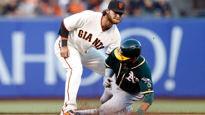 Oakland Athletics center fielder Coco Crisp (right) is tagged out on a stolen base attempt by San Francisco Giants shortstop Brandon Crawford (left) during the third inning at AT&T Park.