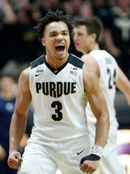 Carsen Edwards of Purdue lets out a scream as  Penn