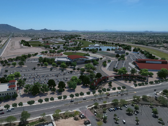 A flyover mock-up of a planned 272-acre park at Queen
