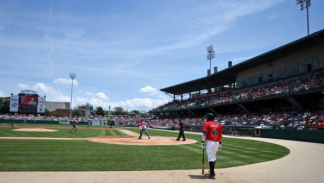 Indianapolis Indians batter Matt Hague walks to the plate against the Gwinnett Braves at Victory Field, Sunday, June 15, 2014, in Indianapolis.