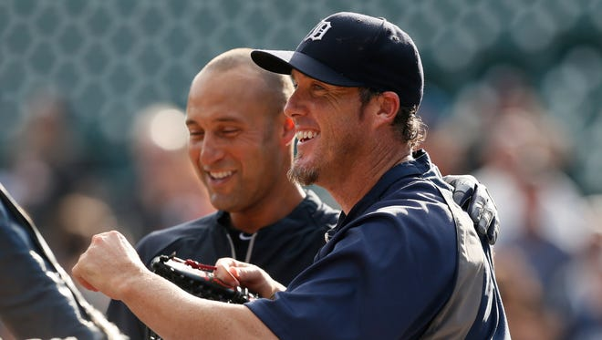 Tigers closer Joe Nathan, here with Derek Jeter, donated $50,000 to the Detroit fire department.