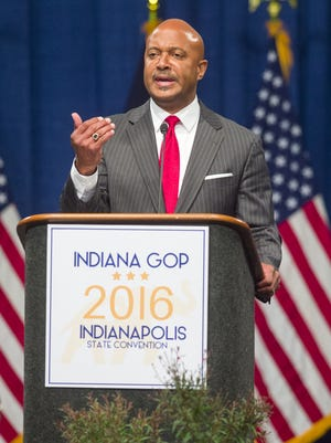 Curtis Hill addresses the delegates as he seeks the party's nomination for Attorney General. The Indiana Republican state convention was held Saturday, June, 11, 2016, at the Indiana Convention Center where over 1,900 delegates voted for the candidates that will be on the ballot in November.