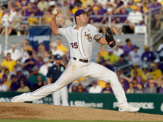 Alex Lange pitches against Rice on Sunday at Alex Box Stadium in the Baton Rouge Regional of the NCAA Division 1 Baseball Championship.
